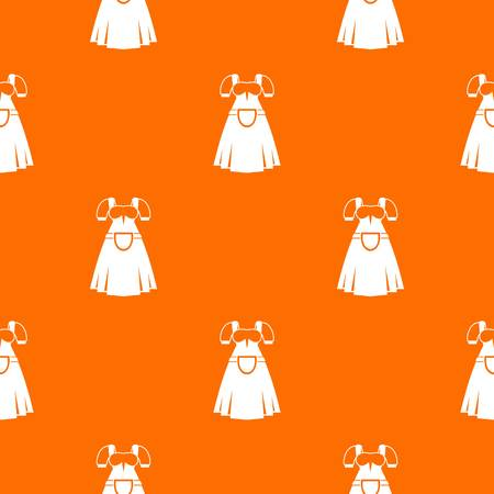 Traditional Bavarian dress pattern repeat seamless in orange color for any design. Vector geometric illustration
