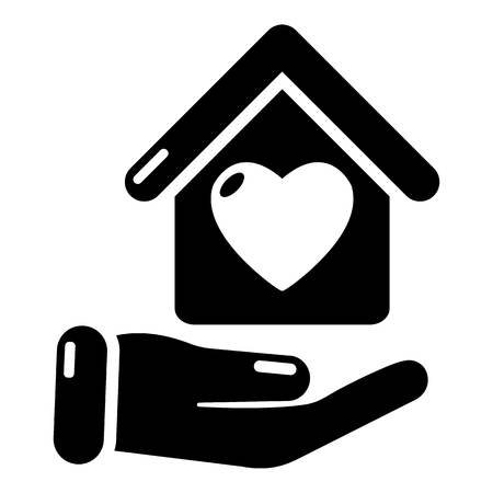 residential homes: Hand house icon. Simple illustration of hand house vector icon for web