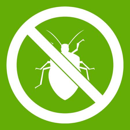 poison sign: No bug sign icon white isolated on green background. Vector illustration