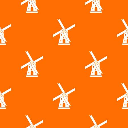 grain fields: Ancient windmill pattern repeat seamless in orange color for any design. Vector geometric illustration