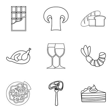 Junket icons set. Outline set of 9 junket vector icons for web isolated on white background Illustration