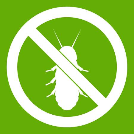 No termite sign icon white isolated on green background. Vector illustration
