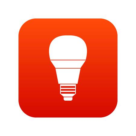 Glowing LED bulb icon digital red