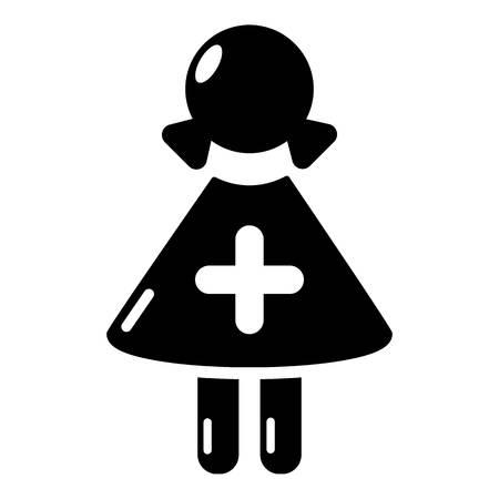 Nurse icon, simple black style Illustration