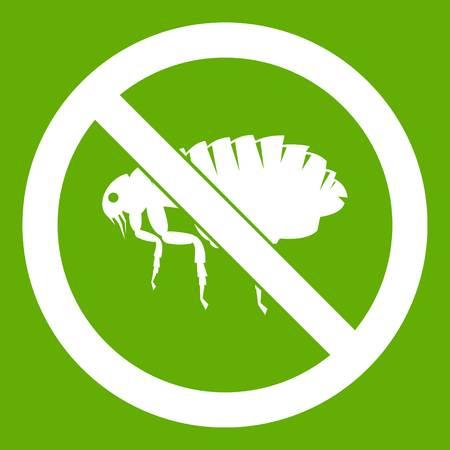 poison sign: No flea sign icon green Illustration