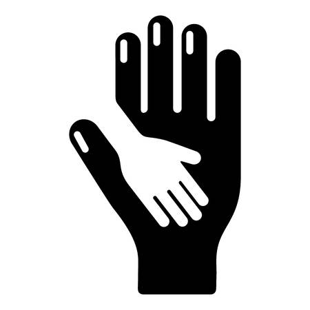family isolated: Caring hand icon, simple black style