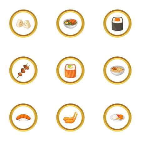 Sushi menu icons set, cartoon style Illustration