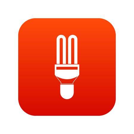 Fluorescence lamp icon digital red Illustration