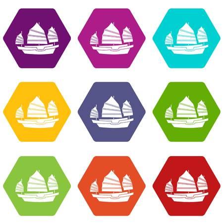 hong kong harbour: Junk boat icon set color hexahedron Illustration