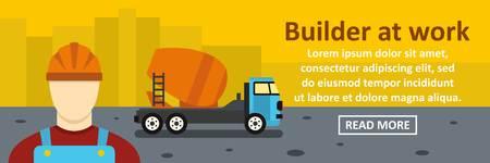 Builder at work banner horizontal concept Illustration