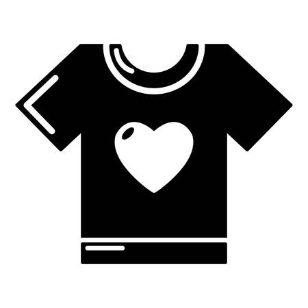 family isolated: T-shirt heart icon. Simple illustration of t-shirt heart vector icon for web