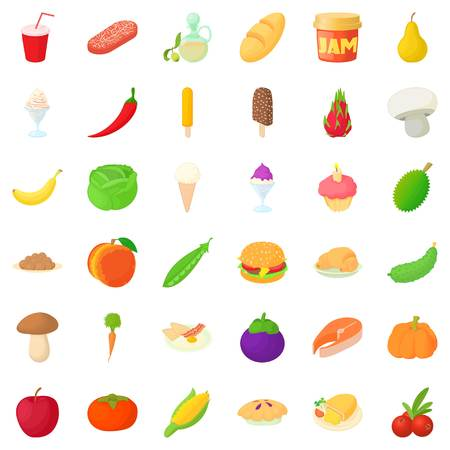 Food icons set. Cartoon style of 36 food vector icons for web isolated on white background Illustration