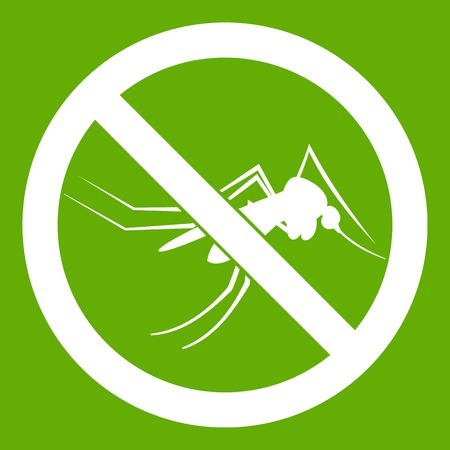 No mosquito sign icon white isolated on green background. Vector illustration Illustration