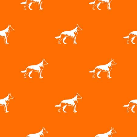 hounds: Shepherd dog pattern repeat seamless in orange color for any design. Vector geometric illustration