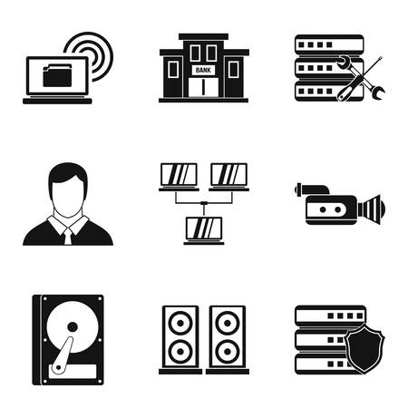 Registration icons set, simple style