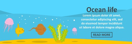Ocean life banner horizontal concept. Flat illustration of ocean life banner horizontal vector concept for web design