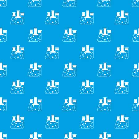 poison sign: Laboratory flasks pattern repeat seamless in blue color for any design. Vector geometric illustration