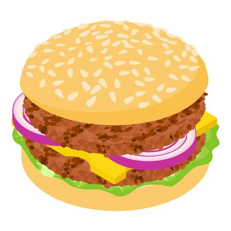 sesame: Burger cutlet icon, isometric 3d style