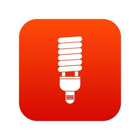 Rojo digital del icono del bulbo fluorescente para cualquier diseño aislado en la ilustración del vector blanco