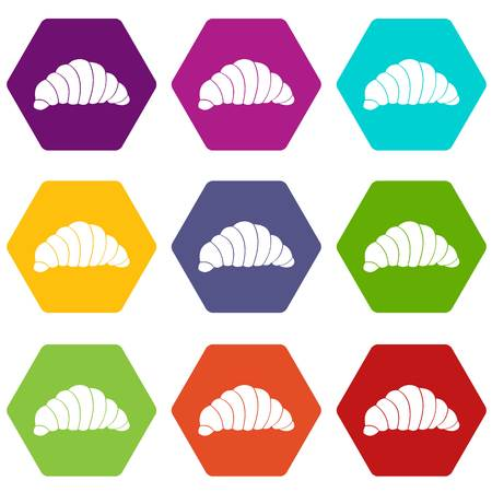 Croissant icon set color hexahedron