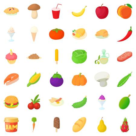 Vegetable icons set. Cartoon style of 36 vegetable vector icons for web isolated on white background