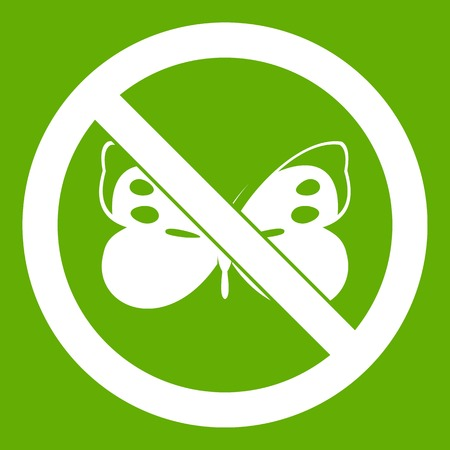 No butterfly sign icon white isolated on green background. Vector illustration