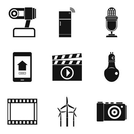 Show icons set. Simple set of 9 show vector icons for web isolated on white background