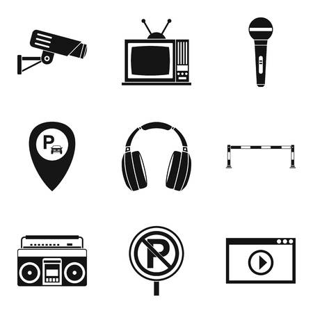 Record icons set, simple style