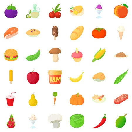 Jam icons set. Cartoon style of 36 jam vector icons for web isolated on white background
