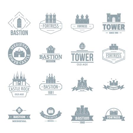 Jeu d'icônes de tours de châteaux. Illustration simple de 16 châteaux de tours icônes vectorielles pour le web