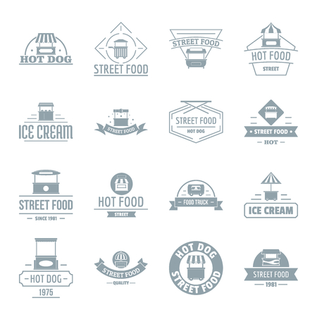 Street food  icons set. Simple illustration of 16 street food vector icons for web Illustration