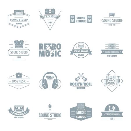 audio mixer: Music studio  icons set. Simple illustration of 16 music studio vector icons for web