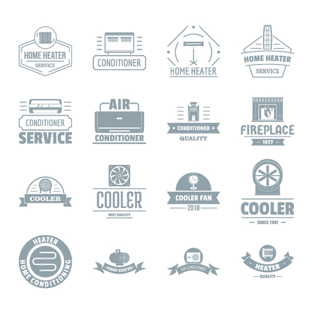 fireplace: Heating cooling  icons set. Simple illustration of 16 heating cooling vector icons for web
