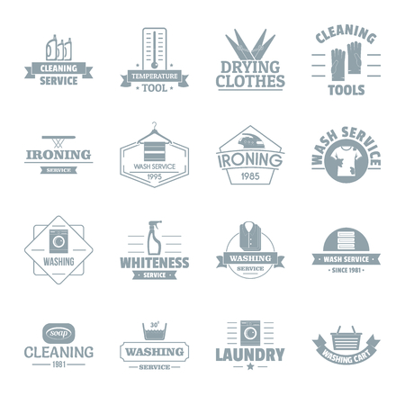 dryer: Laundry cleaning  icons set. Simple illustration of 16 laundry cleaning vector icons for web