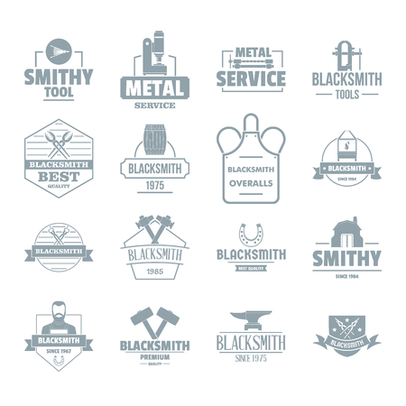 fireplace: Blacksmith metal icons set. Simple illustration of 16 blacksmith metal vector icons for web