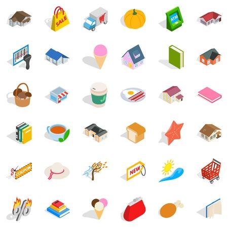 Sweet icons set. Isometric style of 36 sweet vector icons for web isolated on white background Illustration
