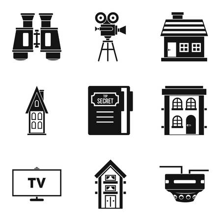 camera film: Persecution icons set, simple style Illustration