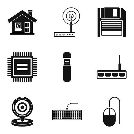 House surveillance icons set, simple style
