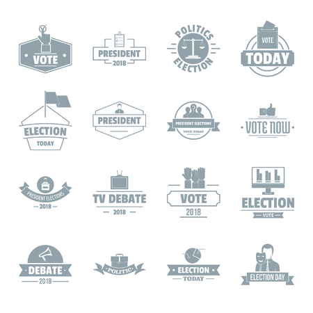 politic: Election voting icons set, simple style Illustration