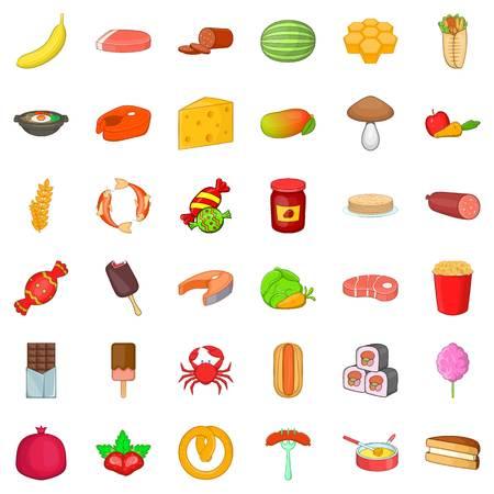 Banana icons set, cartoon style