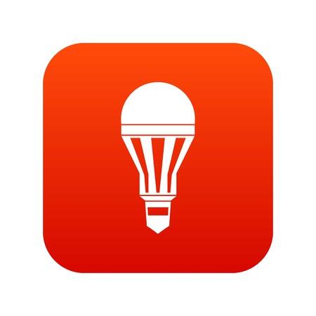 Led bulb icon digital red