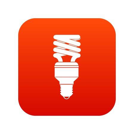 Icono de bombilla de ahorro de energía rojo digital Vectores