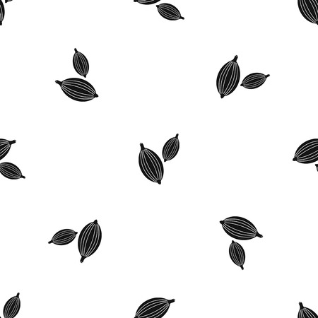 Cardamom pods pattern seamless black