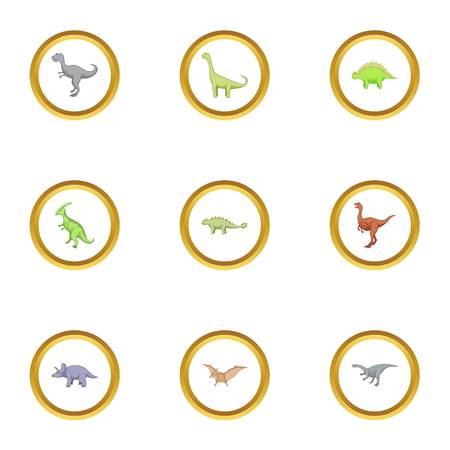 triceratops: Wild dinosaur icons set, cartoon style