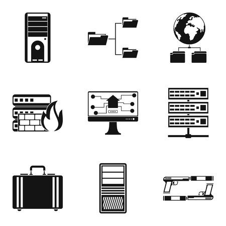 Digital data icons set, simple style