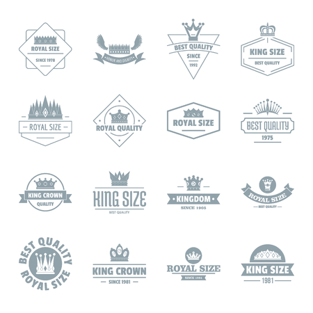 royal person: Crown royal icons set, simple style