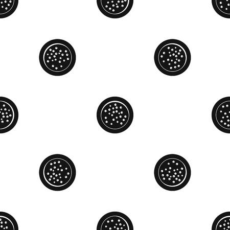 Peppercorns on a plate pattern seamless black Illustration