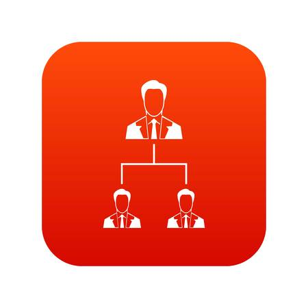 Company structure icon digital red