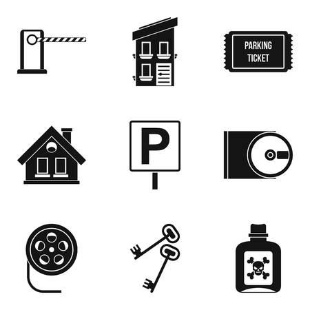 Spy movie icons set, simple style