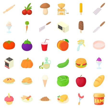 Vegetable icons set, cartoon style